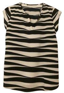 Ivanka Trump Sheer Zebra Top Black & White