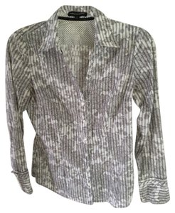 Express Button Down Shirt Black, white and grey