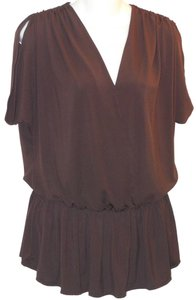 Alice + Olivia Draped Top Brown
