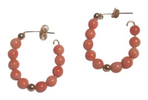 vintage jewelery Antique Natural Coral and 14k gold hoop earrings