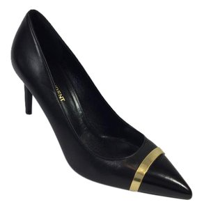 Saint Laurent Pump Cap-toe Black/ Gold Pumps