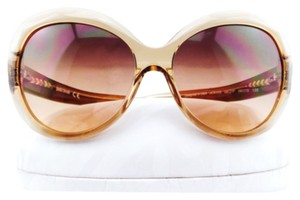 Just Cavalli Just Cavalli Beige Cat Eye Sunglasses With Orange Leopard Rims New Without Tags