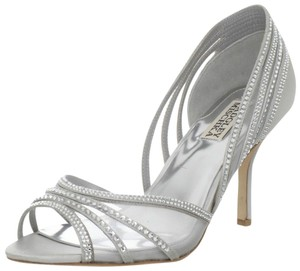 Badgley Mischka Bridal White Satin Pumps