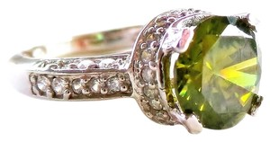 Vivid Green Topaz & Zircon 925 Sterling Silver Ring Size 6