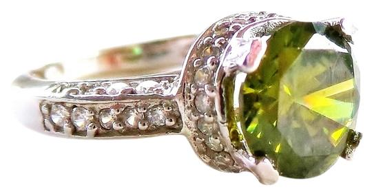 Other Vivid Green Topaz & Zircon 925 Sterling Silver Ring Size 6