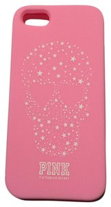 Victoria's Secret iPhone 5 Victoria's Secret Cell Phone Case Rubber Silicone Cover New Pink White Stars Skull