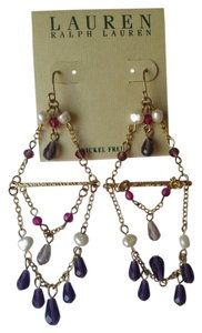 Ralph Lauren Ralph Lauren RL SEMI-PRECIOUS chandelier earrings amethyst pearls