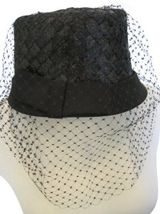 Leslie James Leslie James Elegant Fancy Black Woven Straw Satin Bow Fish Net Veil Dress Hat