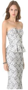Alice + Olivia Peplum Strapless Embroidered Dress