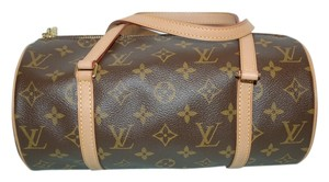 Louis Vuitton Lv Monogram Brown Designer Vintage Papillon Date Code Vachetta Leather Tote in Brown Monogram