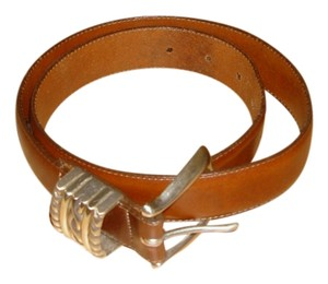 Brighton BRIGHTON Brown Genuine Leather Silver Tone Hardware Belt~M/28-32~