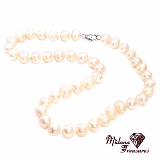 Unknown 10mm Genuine Pink Freshwater Pearl Necklace 925 Sterling