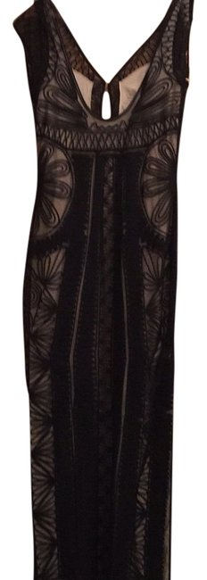 Item - Black Sheer Lace with Cream Sheath Ellison Passenentry Long Night Out Dress Size 10 (M)