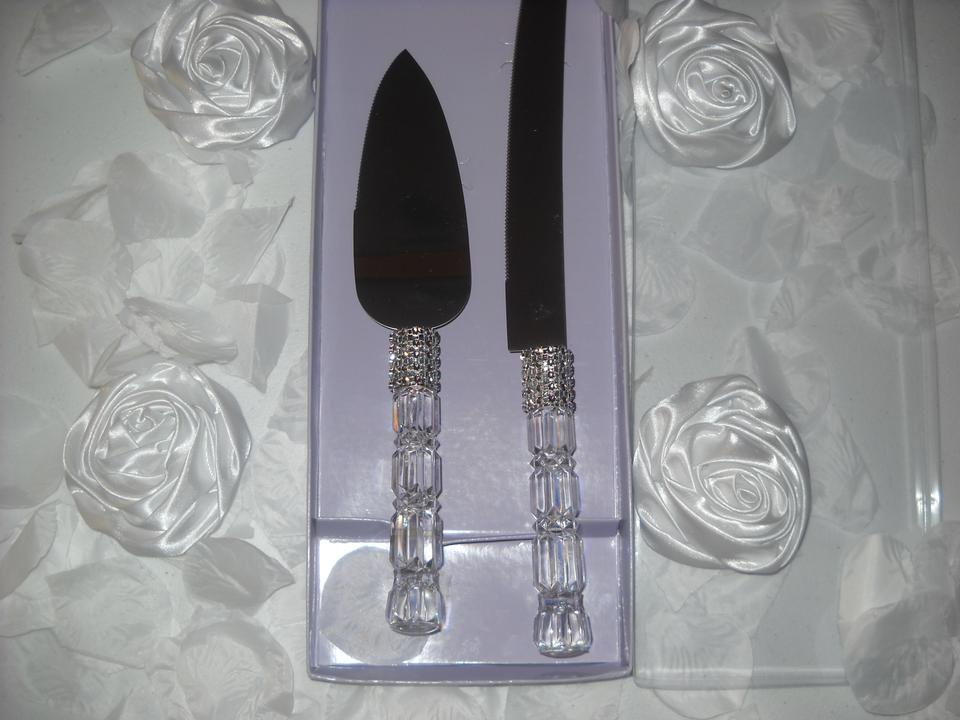 wedding cake cutters wedding cake knife server set with rhinestone look 8610
