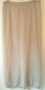 Ellen Tracy Cashmere Light Color Off White Beige Maxi Skirt Taupe