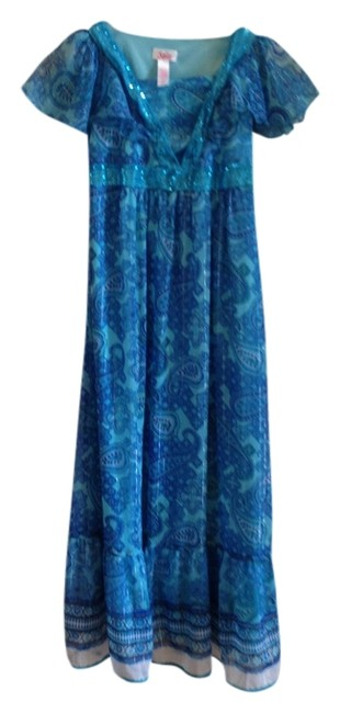 Item - Blue Sequin Sequined Neck and Empire Waist Mid-length Casual Maxi Dress Size 10 (M)