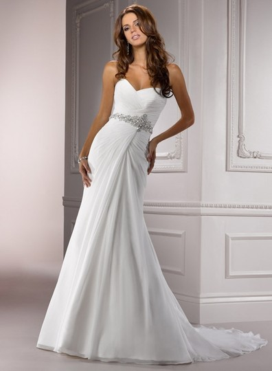 Maggie Sottero White Chiffon Courtney Formal Wedding Dress Size 8 (M)