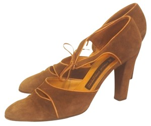 Italo Colombo Leather Suede Mary Janes Made In Italy Heels Lace Brown Pumps