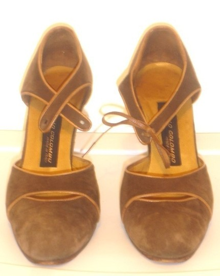 Italo Colombo Leather Suede Mary Janes Made In Heels Lace Brown Pumps