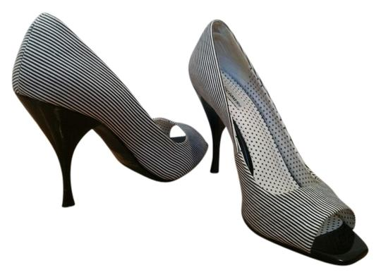 Delicious Open Toe Pinstripe Open Toe Heels Summer Spring black & white Pumps