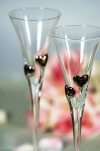 Czech Bohemian Crystal Wedding Champagne Flutes