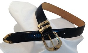 Brighton Patent Leather with Gold Buckle Belt