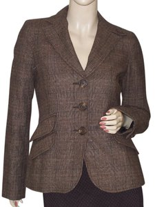 Vince Boyfriend Classic Glen Wool Plaid Blazer