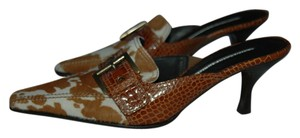 Donald J. Pliner Calf hair tan/white Mules