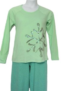 Hue PAJAMAS PJ'S XL NWT COTTON GREEN L/S FLEECE LINED BOTTOMS & TOP 2PC