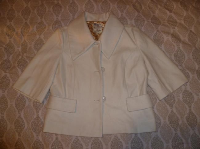 Tulle Wool Blend White Cream Anthropologie Vintage Classic Pea Coat