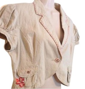 Andrew & Co. Top Tan Coral Multi