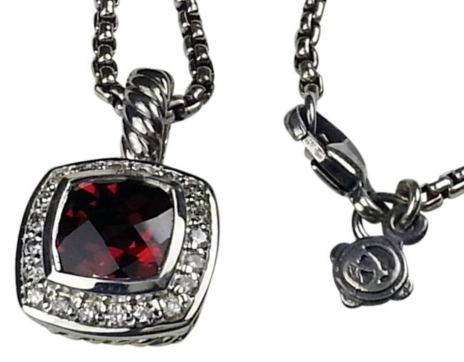 Item - Red 7mm Garnet Albion with Diamonds Necklace