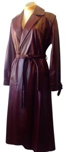 Etienne Aigner Vintage Brass A Small 3/4 Length Leather 1970s Trench Coat