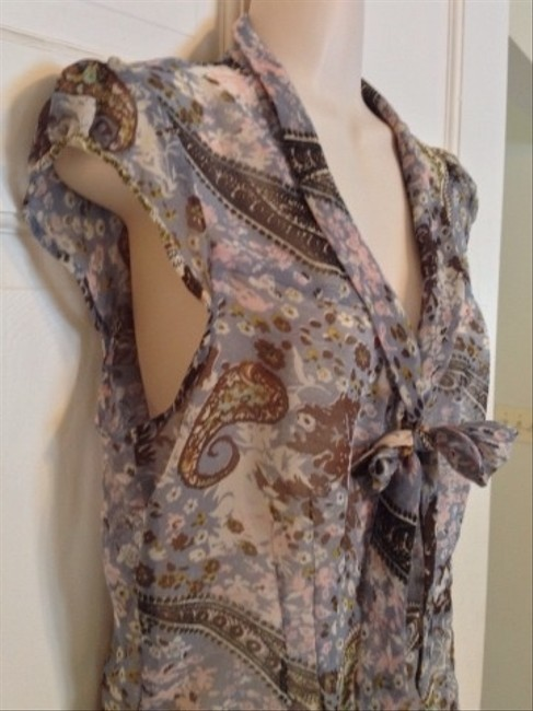 Guess Top Blue Gray Brown Cream Multi