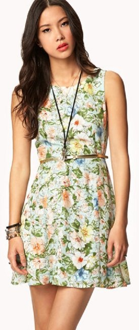 Forever 21 short dress Mint Green 21 Summer Spring Floral Mint Sketched on Tradesy