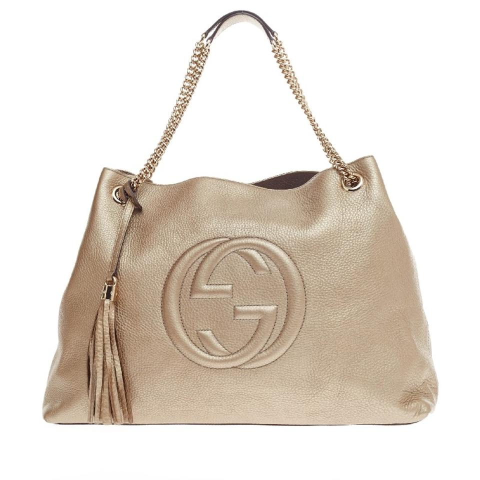 89e3af6882a Gucci Soho Chain Strap Large Gold Leather Shoulder Bag - Tradesy
