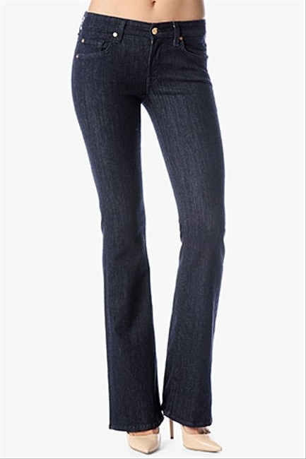 7 For All Mankind Stretchy Classic Fitted Boot Cut Jeans-Dark Rinse