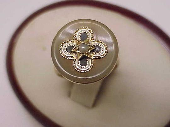 Incredible Works Of Art Antique Victorian 10k Yg Genuine Agate Seed Pearl Magen David Star Enameled 1800's Ring