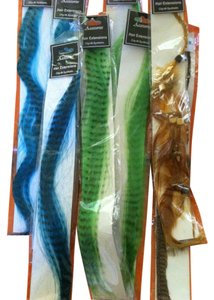 AMC Accessories 8 Package's Of Clip On Hair Extension's 3 BLUE 3 GREEN 1 BROWN & 1 BLACK FEATHER Retail For All $63.92