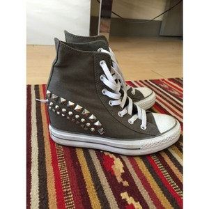769fdaf95dedb9 Converse Gray Studded Platform Wedge Sneakers Size US 7.5 Regular (M ...