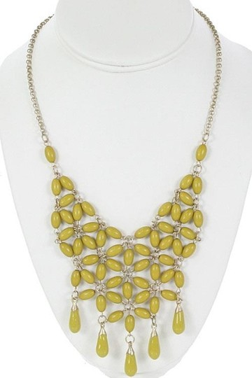 Other Teardrop Fringe Beaded Bib Necklace