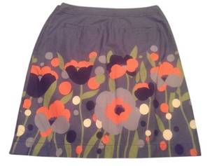 Boden Skirt Varying color of blue's with orange, cream and green