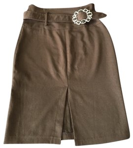 Rinascimento Studded High Waist Belt Skirt Brown