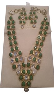 Amrita Singh 2-Piece Set,Green & CZ Statement Necklace & Earring Set
