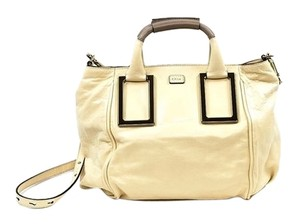 Chloé Removable Strap Leather Satchel in Husky White