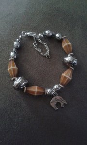 Silver And Brown Western Bracelet