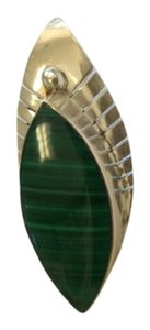 Malachite and silver pin