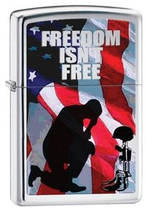 Zippo Zippo Lighter Silver Freedom Isnt Free 28336