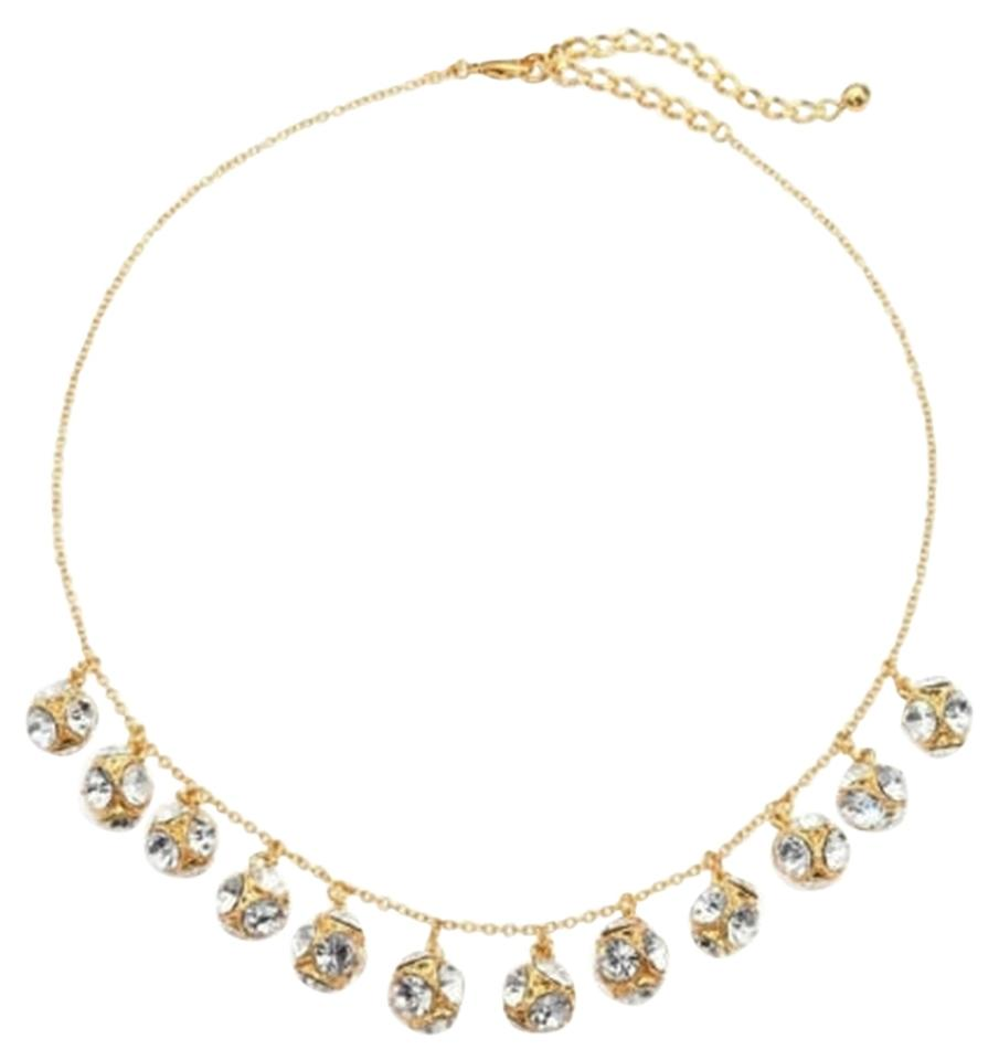 Kate Spade New!!! Tags Clear Crystal Gold Dangle Charm Necklace Nwt!