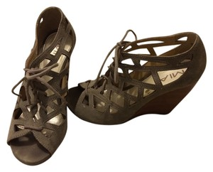 Mia Shoes Lace Up Taupe Wedges